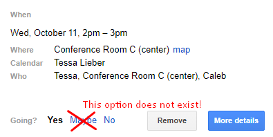Maybe is not an option that should exist on your calendar RSVP
