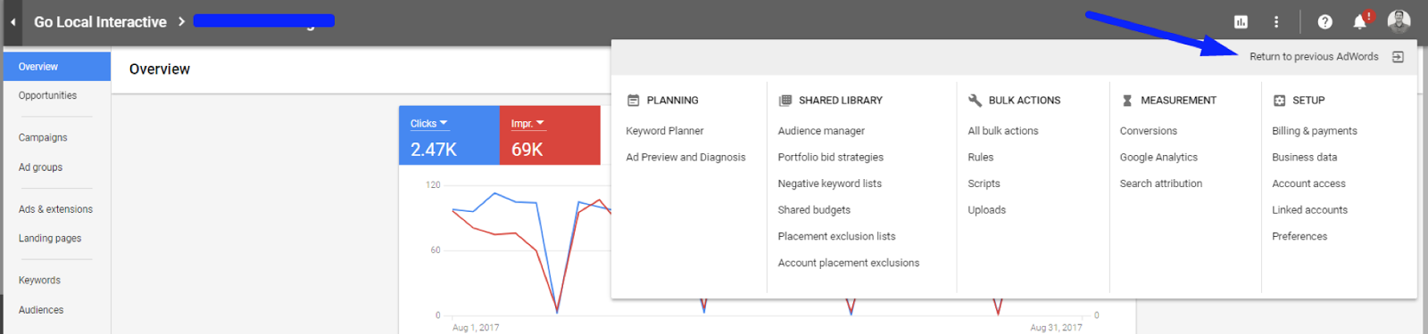 Google AdWords dashboard showing how to return to the old UI