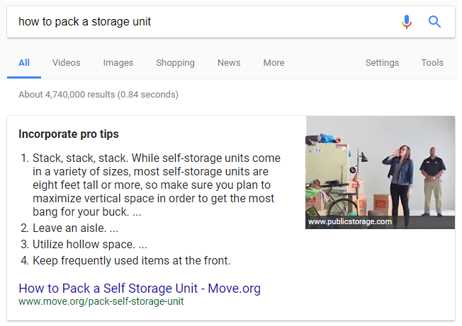 Answer Box for how to pack a storage unit