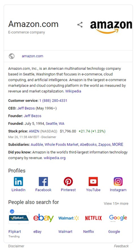 Screenshot of Amazon's knowledge graph