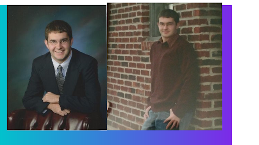 Doug Messel with hair in high school senior pictures