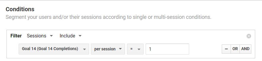 Screenshot of Google Analytics showing custom segments