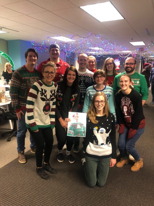 Go Local's organic team in ugly Christmas sweaters