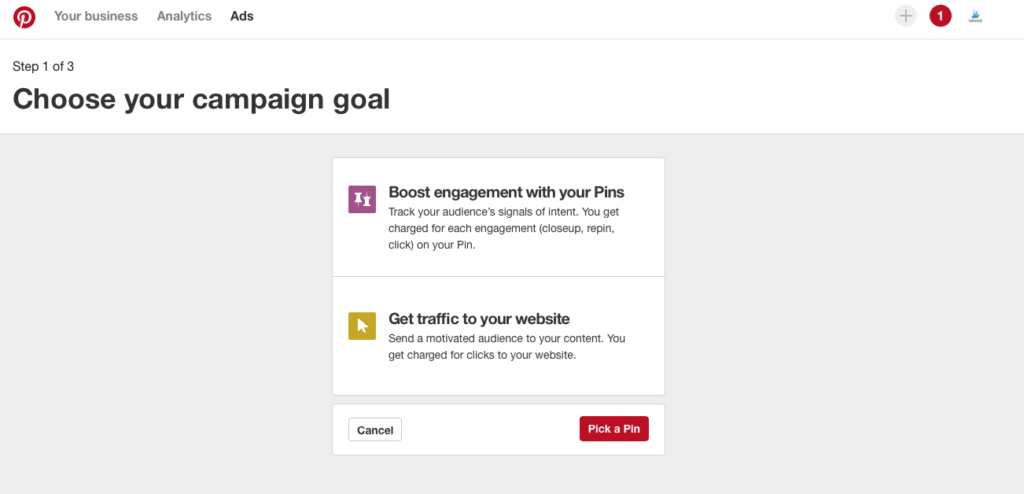 Pinterest - Choose Your Campaign Goal