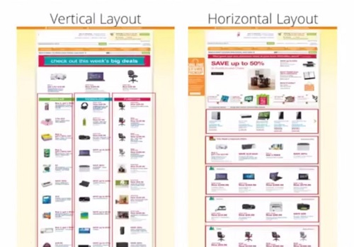 examples of vertical and horizontal website layouts