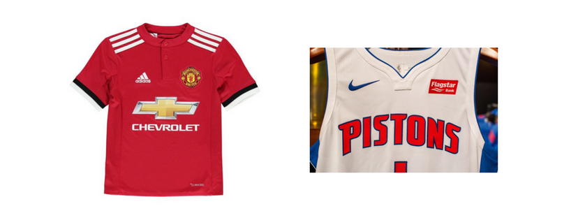 A jersey comparison between the Manchester United red jersey and a white Pistons jersey