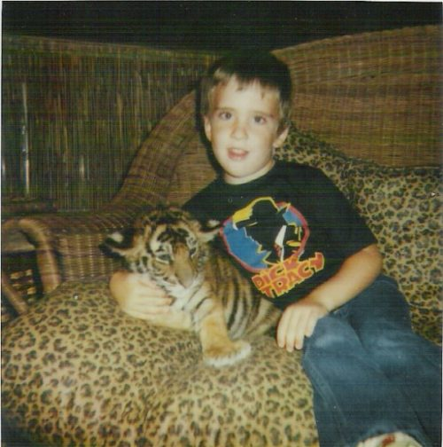 Young Jeremy with a tiger