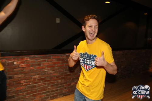 Matt celebrating in bowling