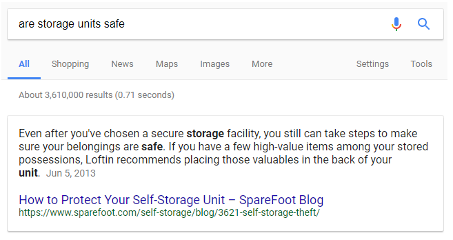 SERP for are storage units safe