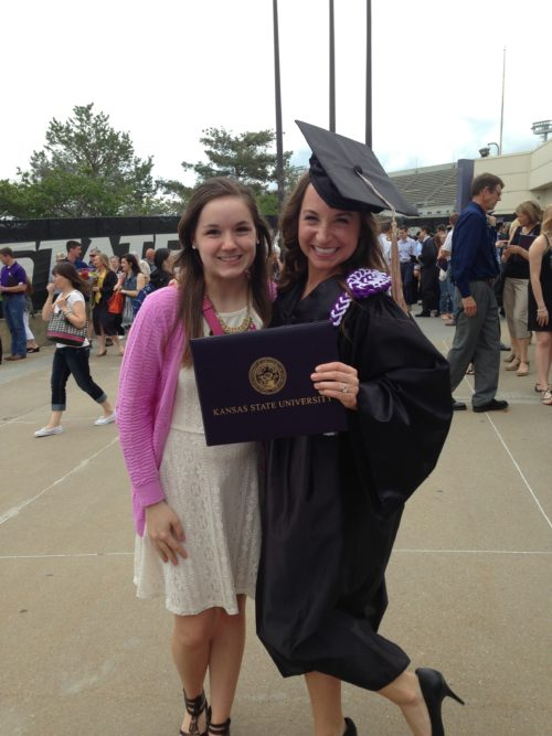 Julie and her sister at graduation