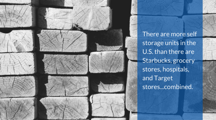 There are more self storage units in the U.S. than there are Starbucks, grocery stores, hospitals, and Target stores...combined.