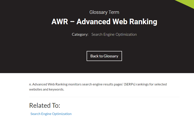 glossary term for AWR- Advanced Web Ranking