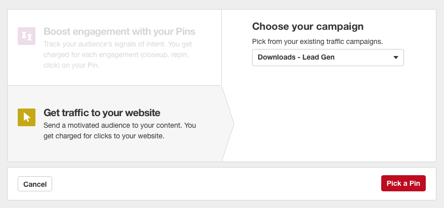 Pinterest- Choose Your Campaign