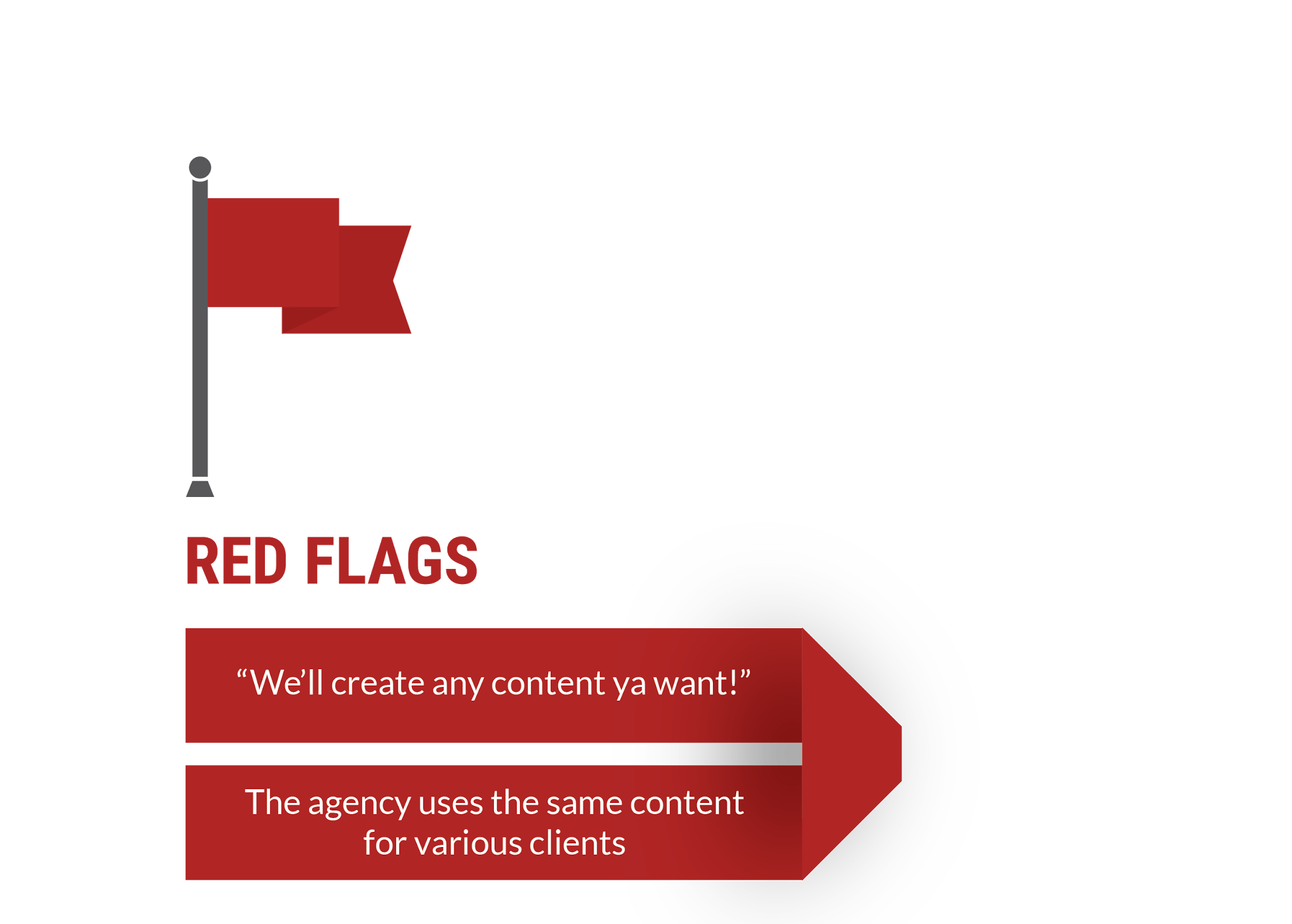 red flags: we'll create any content ya want! The agency uses the same content for various clients